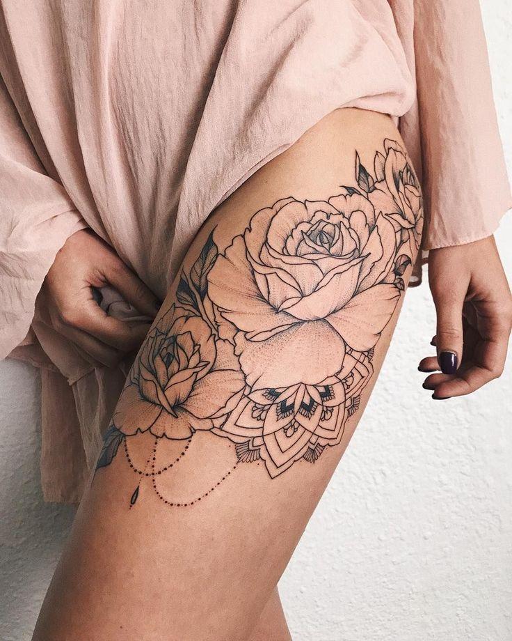Bouquet of roses with mandala #veronicalilutattoo #FlowerTattooDesigns #tattoodesigns