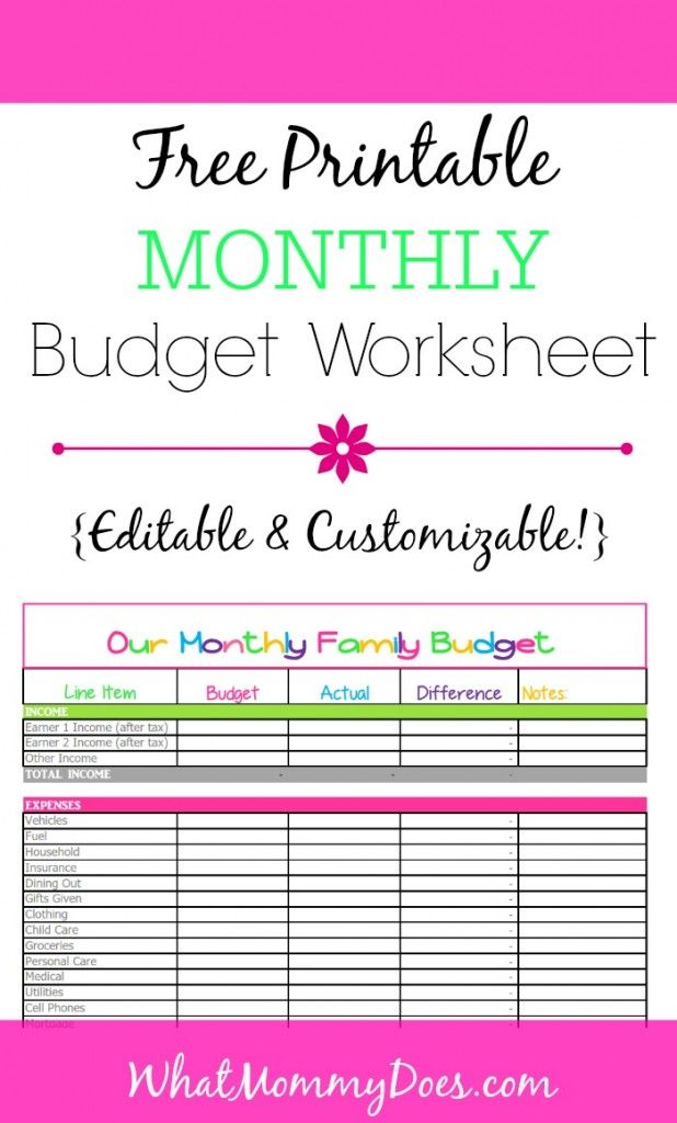 Cute Monthly Budget Printables from WhatMommyDoes.com - This colorful worksheet is perfect for tracking monthly family money spending. It's a completely customizable & editable Excel template that you can download for free and start tracking household income and expenses today.