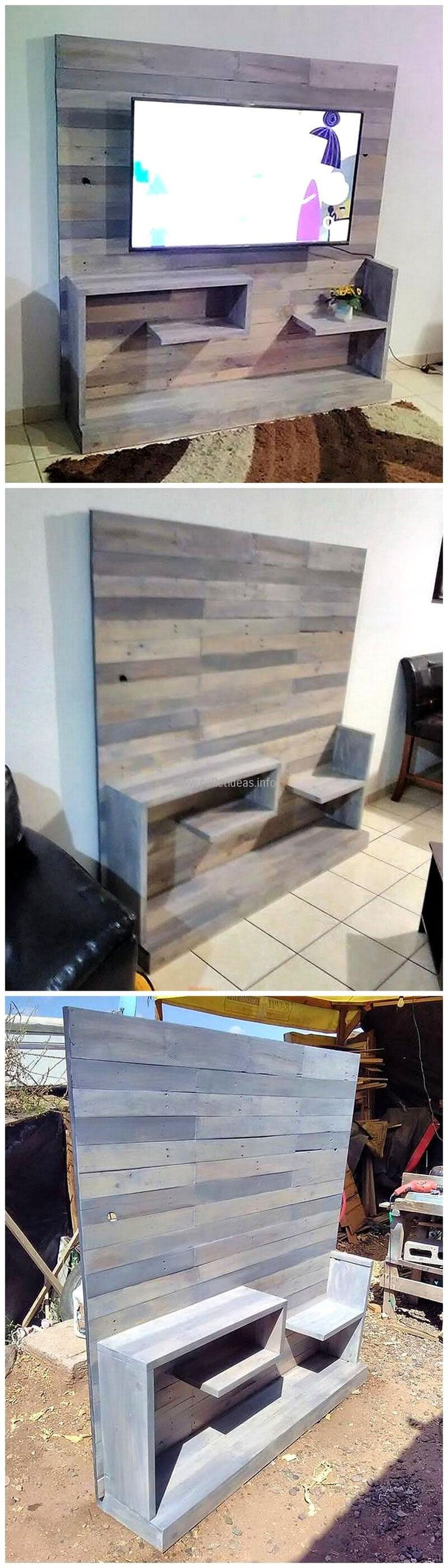 Another functional project of great use to be complemented and implemented for your home decor that not only serve you as a solution to your daily space saving and storage problems but adds beauty to your area as well. This recycled wood pallet t.v. stand is a very simple yet decent piece of art providing ample storage space in the form of shelves being constructed in it. It is a plain furniture with unique looks and functional value.