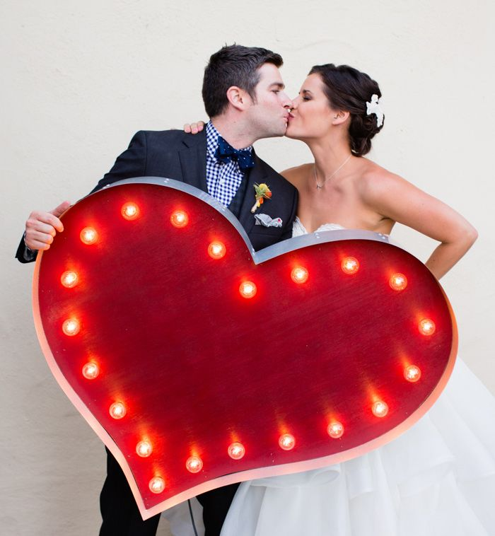 A Crazy Fun Wedding - If a light up giant heart doesn't scream fun I don't know what does!
