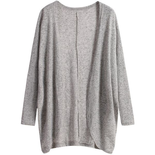 Long Sleeve Loose Grey Cardigan ($11) ❤ liked on Polyvore featuring tops, cardigans, outerwear, jackets, sweaters, grey, long sleeve tops, loose fit tops, grey top and loose knit cardigan