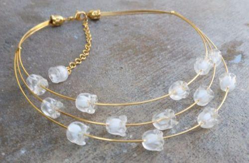 Vintage-Designer-LALIQUE-Muguet-Crystal-Necklace-Lily-of-the-Valley-Flower