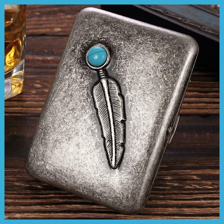 2017 NEW Personality Father Gift Fake Sonething anti que Gaether Turquoise 20pcs copper cigarette case sooking tools Ultra-thin