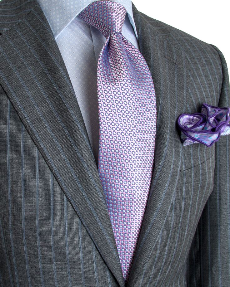 Image of Canali Grey with Light Blue Stripe Suit | T.Q.M ...