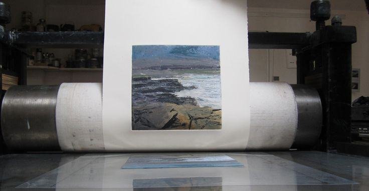 In the process, behind the scenes! One of Donald Teskey's fine seascape prints using carborundum and intaglio techniques