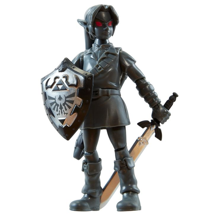 """NINTENDO Shadow Link Action Figure, 4"""". 4"""" Exclusive Shadow Link Figure. Authentic figure stands 4 inches tall. Constructed with 14 points of articulation. Comes with 3 accessories. For ages 3 and up."""