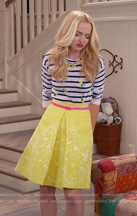 Liv's striped pineapple top and yellow skirt on Liv and Maddie.  Outfit Details: https://wornontv.net/67069/ #LivandMaddie