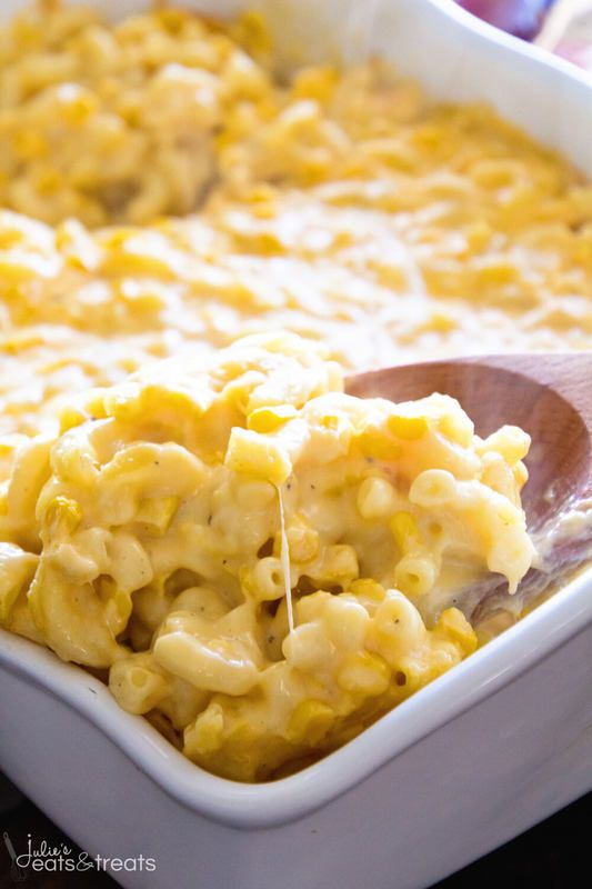 Creamy Corn Macaroni and Cheese Casserole ~ Amazing, Creamy, Cheesy Homemade Macaroni and Cheese with Corn! The Perfect Side Dish for Your Holiday Meals! ~ http://www.julieseatsandtreats.com