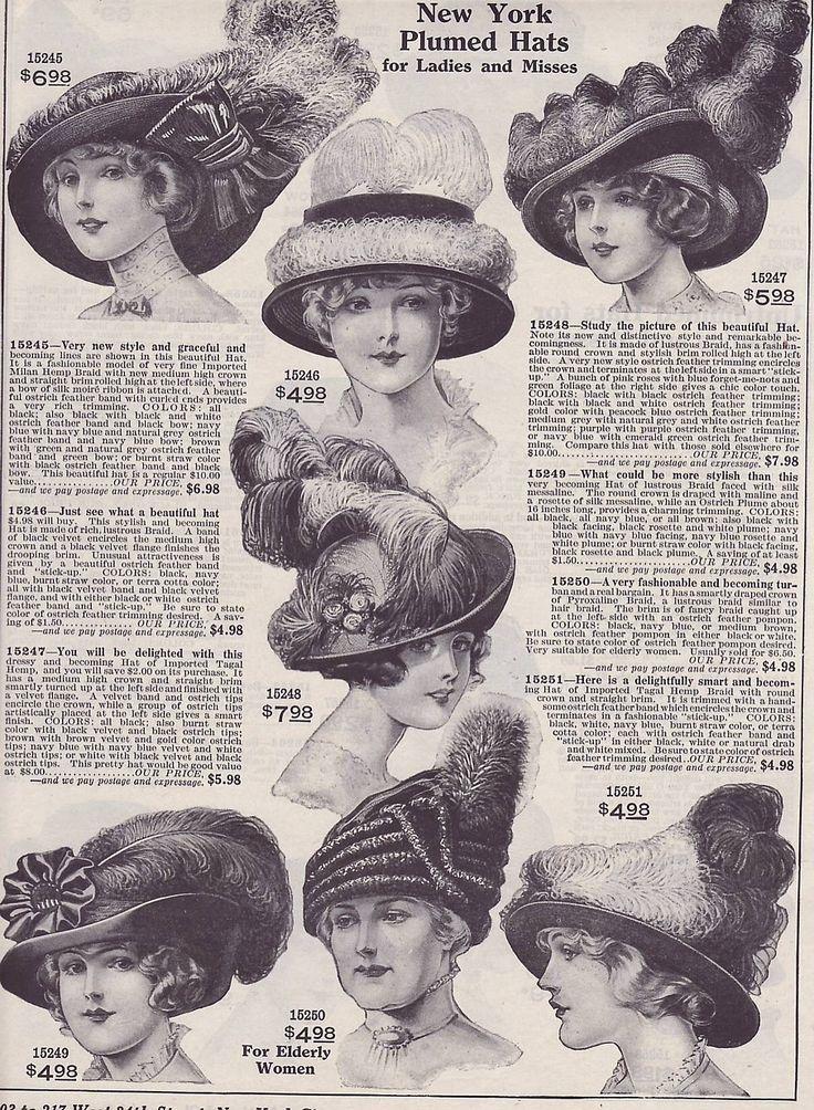 Vintage Edwardian  Ad New York Plumed Hats 1914 (Image1)