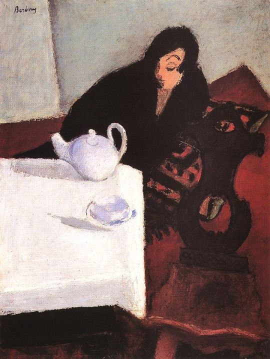 Woman in Black  -   Róbert Berény , 1927  Hungarian,  1887-1953   Oil on canvas