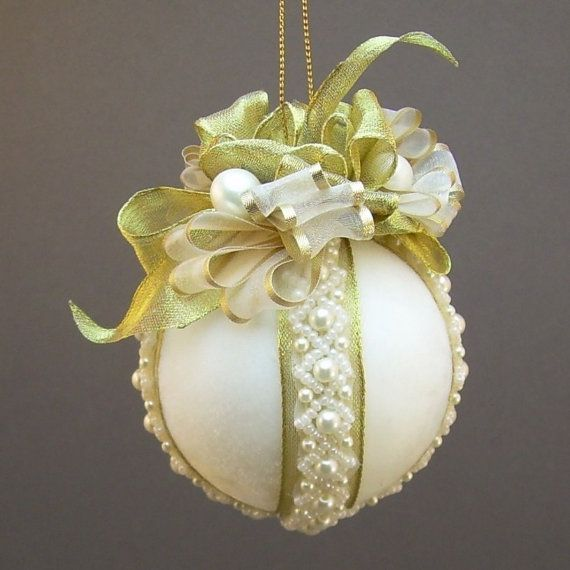 """Towers & Turrets- """"Diana"""" Ivory Velvet Ball Christmas Ornament with Glass and Faux Pearl Beads- Victorian Inspired, Handmade"""