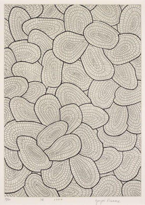"""hipinuff: """"Yayoi Kusama (Japanese, b. 1929), Waves,1994. Etching. """""""