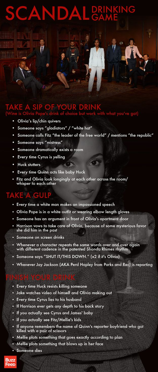 YESSSSSSS!!!!!! Scandal Drinking Game @Rosie HW Fagerholm we are sooo doing this