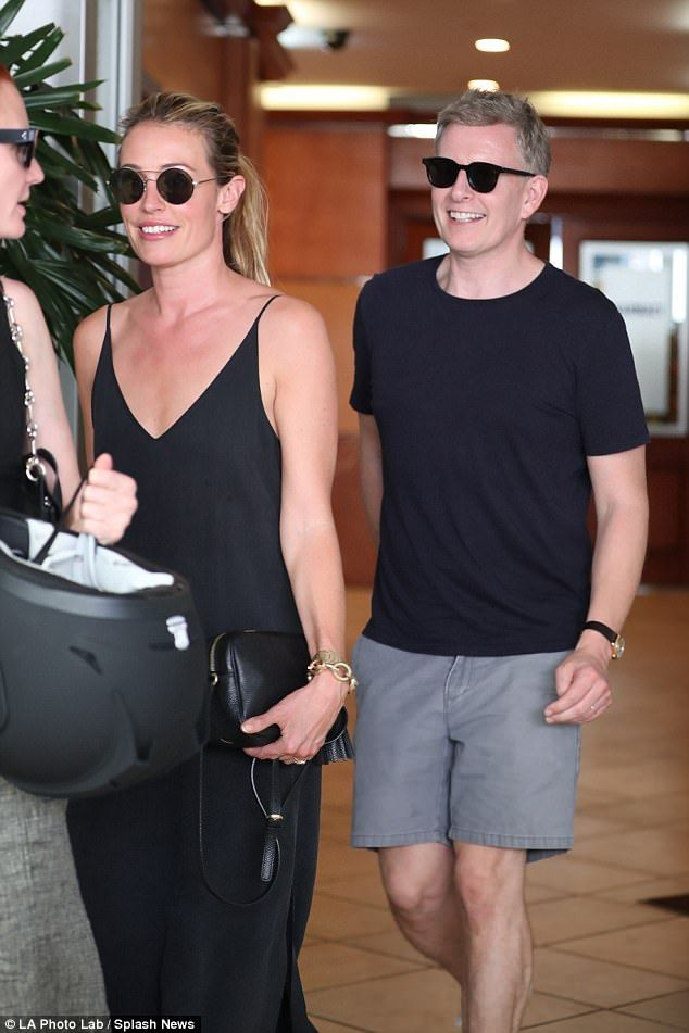 A vision: Cat Deeley certainly proved she would be every inch the yummy mummy as she headed out in Beverly Hills with her adoring husband Patrick Kielty on Tuesday