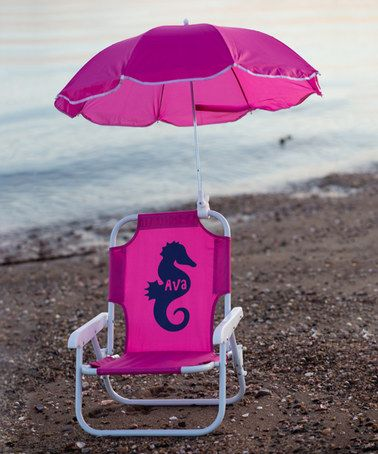 Loving this Hot Pink Seahorse Personalized Kid's Beach Chair & Umbrella on #zulily! #zulilyfinds