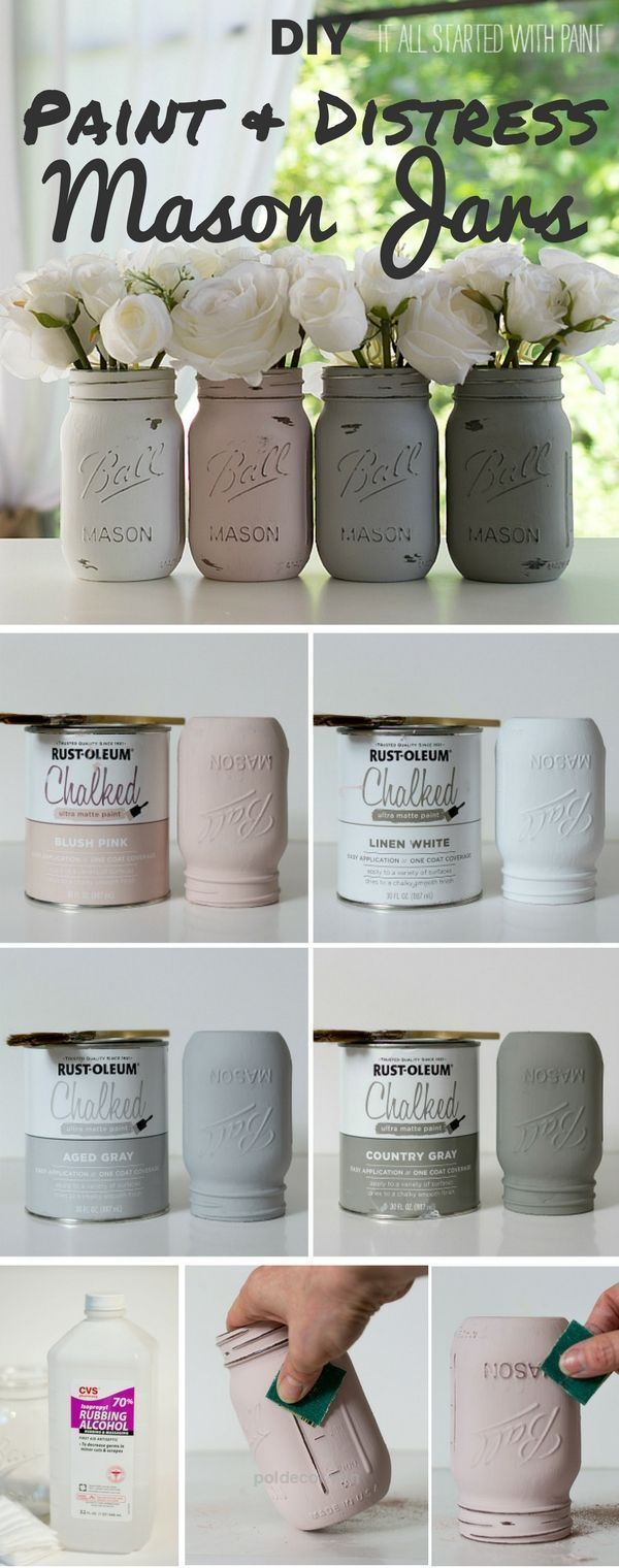 Terrific Check out the tutorial: #DIY Paint and Distress Mason Jars – Perfect for an easy dinner party table centerpiece The post Check out the tutorial: #DIY Paint and Distress Mason Jars – P ..