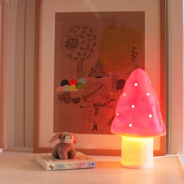 Toadstool lamp red