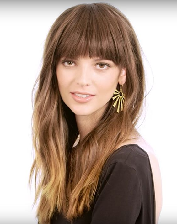 35 Lovely Long Sleek Hairstyle with Front Bangs 2017-2018