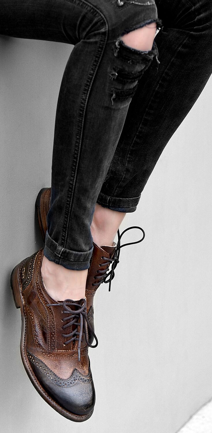 A timeless wingtip oxford by BEDSTU. The combination of black and brown allows for unlimited styling options, including ripped black skinny jeans.