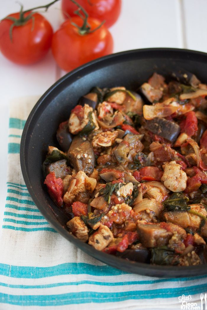 One Pan Dinner with chicken, eggplant, spinach and tomatoes. Add olives and feta for extra flavour.