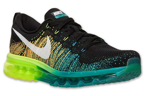 Nike Flyknit Air Max Mens Running Shoes Black White Turbo Green