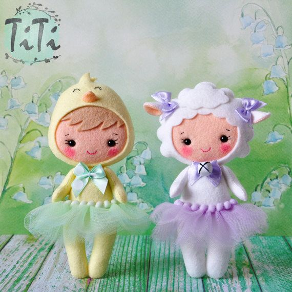 Felt sheep doll Cute girl costume sheep Easter sheep by TiTics