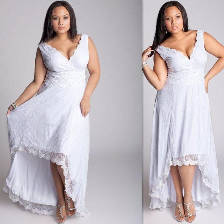 cheap plus size summer bohemian wedding dresses high low white lace 2016 beach bridal gowns custom made maxi fat women cap sleeves brides dress as low as