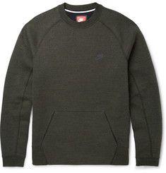 NikeTech Fleece Cotton-Blend Jersey Sweatshirt
