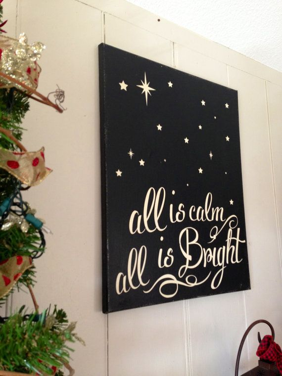 Christmas sign holiday decoration painted silent night all for Christmas decoration quotes