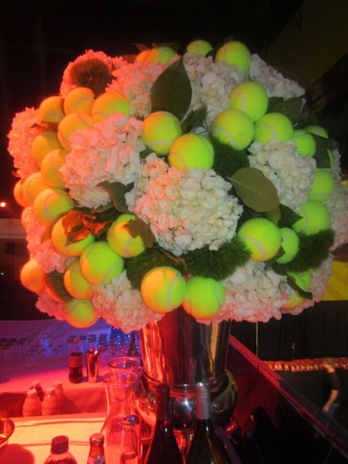 Tennis balls with flowers