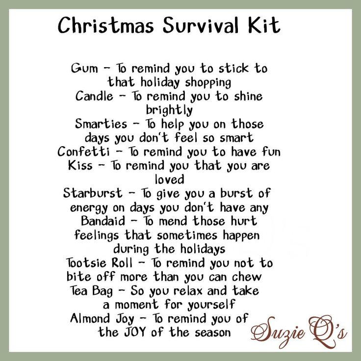 Christmas Survival Kit includes Topper and Card  by SuzieQsCrafts, $1.50