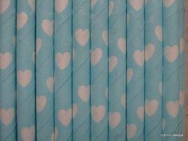 CE Papieren rietjes   licht blauw met hartjes 62457