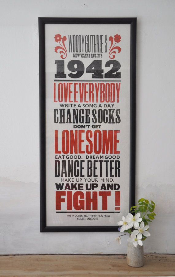 Woody Guthrie Letterpress Poster by TheWoodenTruth on Etsy, £25.00. Want this soooo bad.