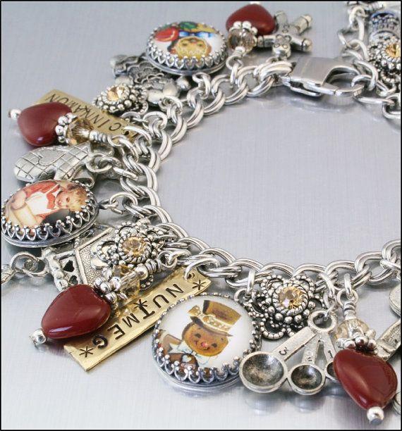 Red Heart Gingerbread Man Charm Bracelet by BlackberryDesigns, $97.00