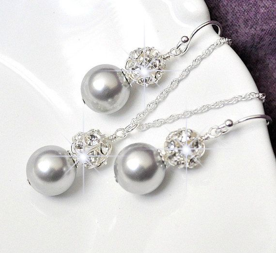 Bridesmaid Jewelry Silver Pearl Set