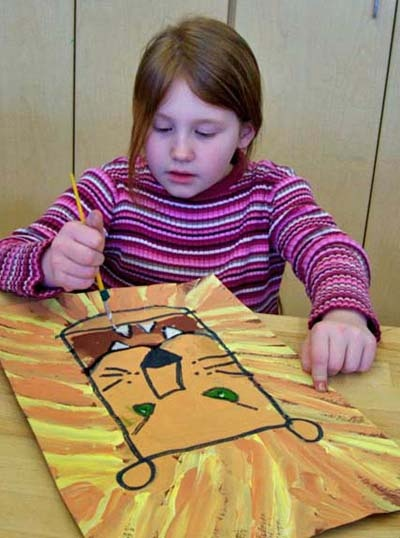 JohnPost.US - Lion Paintings - kids make thumbnail sketches before drawing on large paper