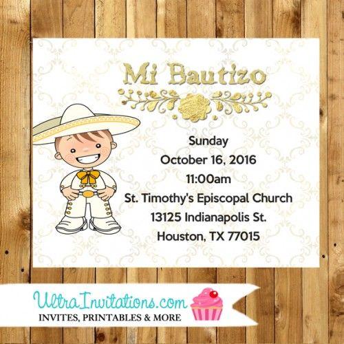 Mariachi Baptism Reception Card - White Gold