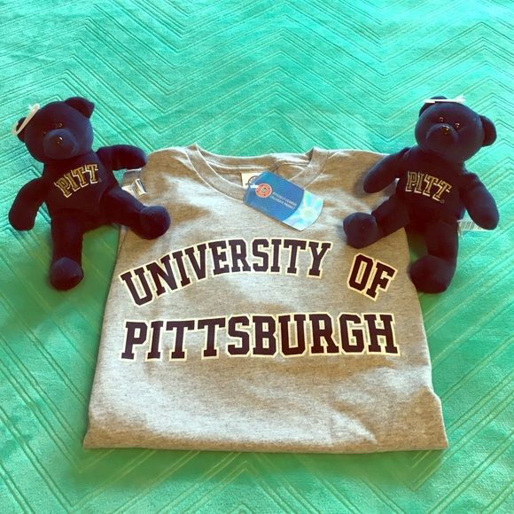PITT Bundle of T-shirt and 2 Bears Size adult small University of Pittsburgh short-sleeved t-shirt and 2 adorable Pitt bears! Bears are about 8 inches tall. All new and with tags! Tops Tees - Short Sleeve