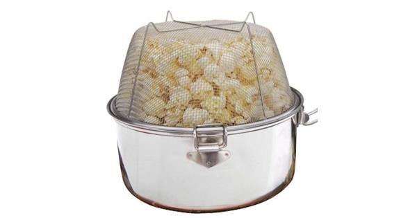 """Eagle Popcornkjele   Eagle Products     Rustfritt stål med kobberbelegg i bunn.     Smart sammenleggbart håndtak. Kivst i håndtak for """"over-bål-aktivi..."""