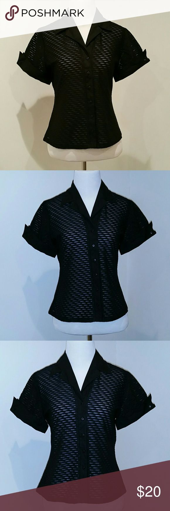 Josephine Chaus Black Top petite size 8 Josephine Chaus.  Black Top.  Petite size 8P.  Button down.  Short sleeve.  Fitted waist.  Cuffs and buttons. Josephine Chaus Tops Button Down Shirts