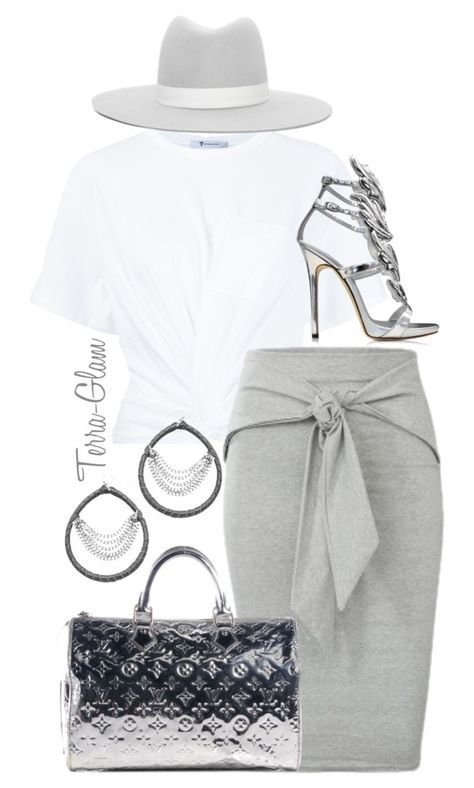 Gray Slay by terra-glam on Polyvore featuring polyvore fashion style T By Alexander Wang Giuseppe Zanotti Skinny by Jessica Elliot Janessa Leone Louis Vuitton clothing