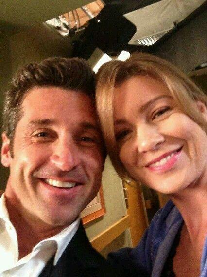 Meredith and Derek behind the scenes of Grey's Anatomy