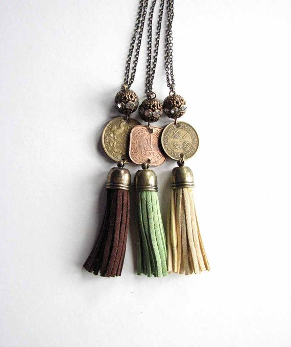cream yellow suede fringe tassel necklace with vintage coin - Hong Kong - boho relic jewelry