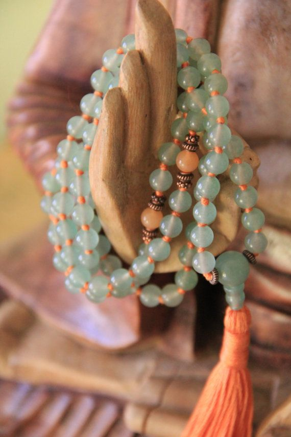 prayer beads calm & creative aventurine gemstone door StandingLaurel