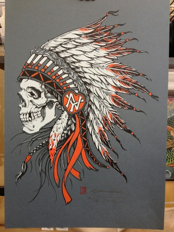 love old school #indian skull headdress tattoos change the heart to a sun and red to blue. Girls face?