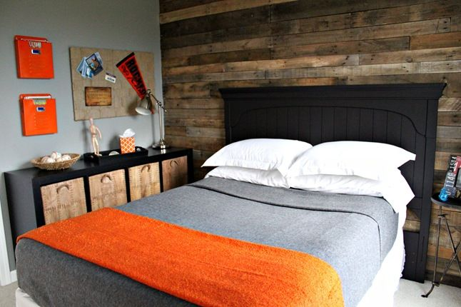 Older boy bedroom.  Before & after pics on the link. Love the horizontal wood on the one wall!