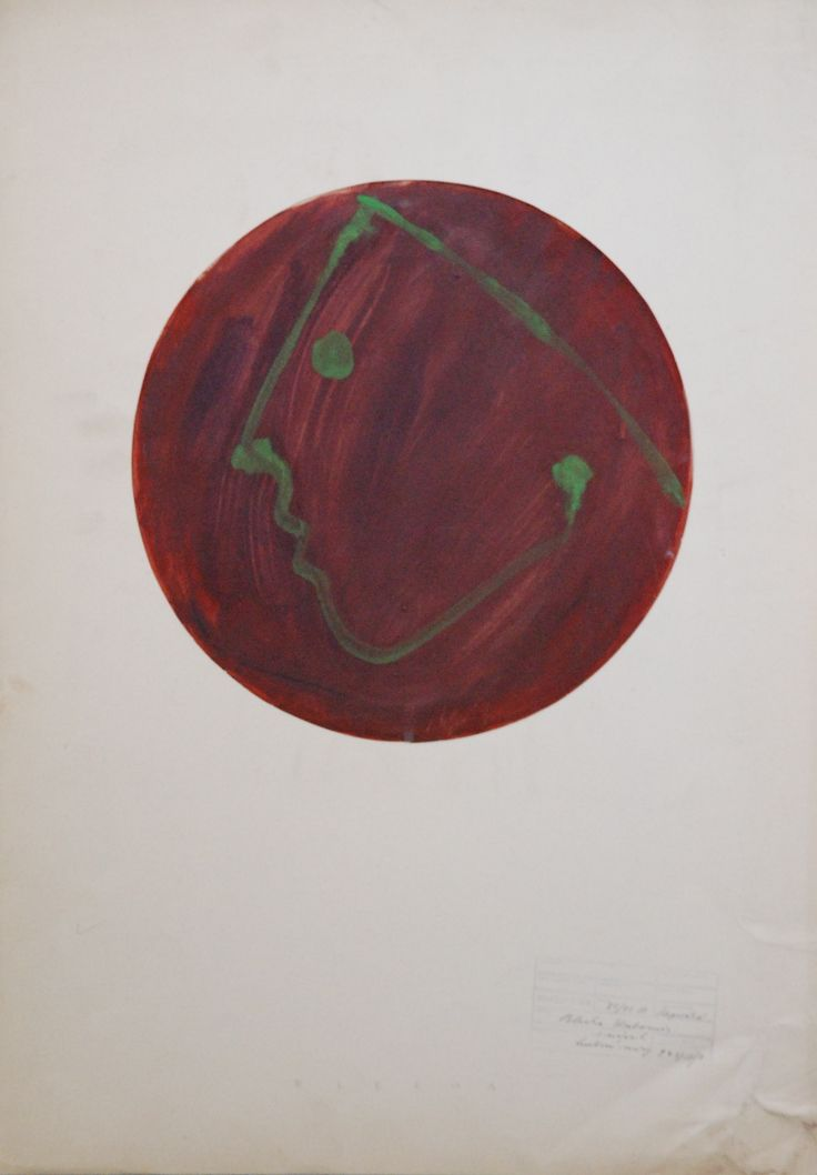 Lubomir Blecha, study of design of decorative disc, tempera colors on paper, 1956, D: 34,0 cm, UMPRUM Prague (Academy of Applied Arts), starting point for the research of glass faces was inheritance of Tachismus - partly libertarian painting using stain and yarn