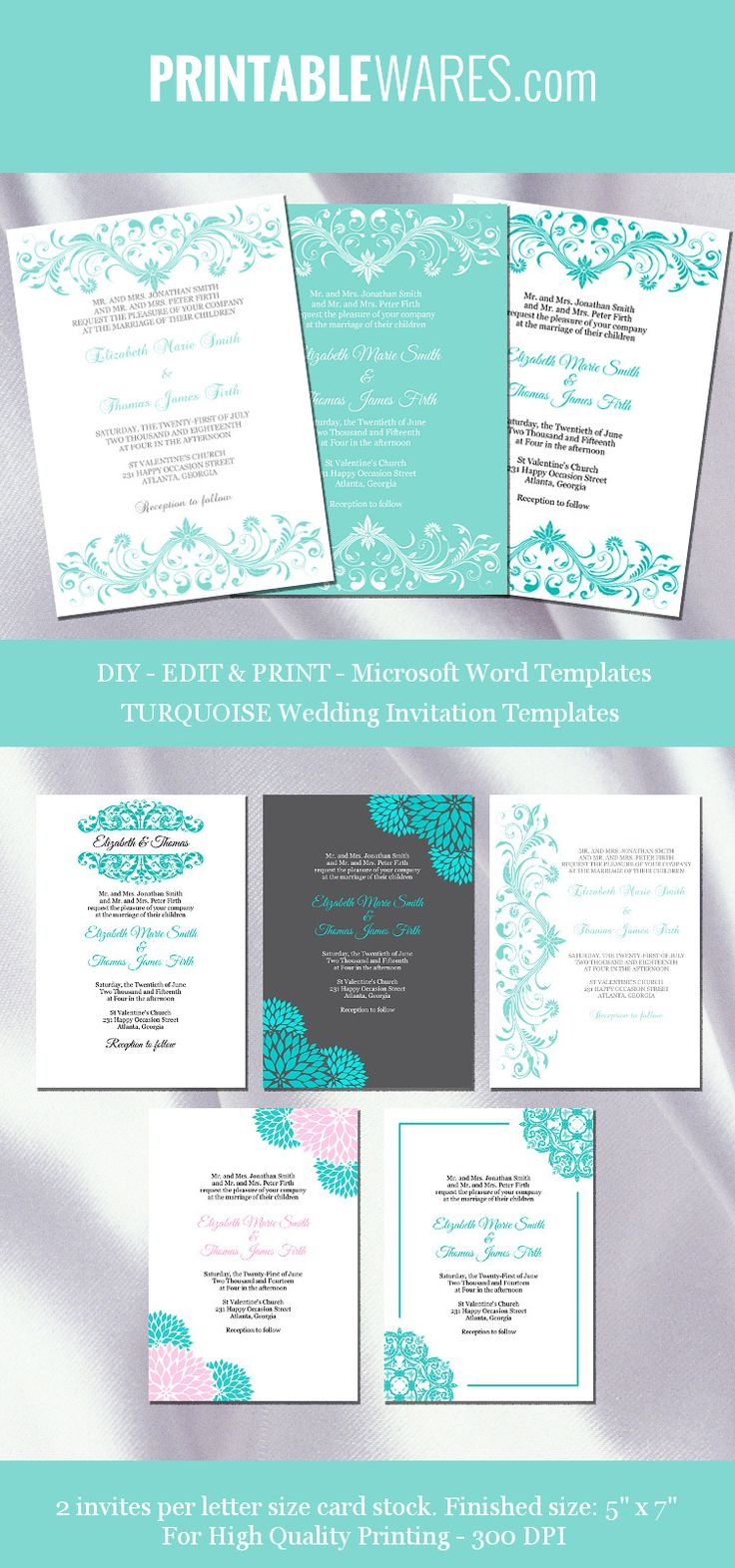 Turquoise Wedding Invitation Templates
