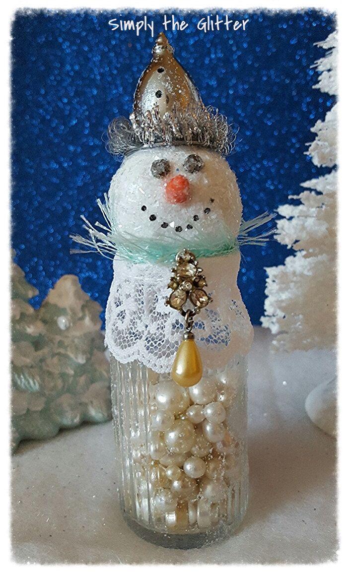 Snowman Assemblage Vintage Salt Shaker Snowman Lily