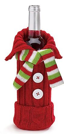 Christmas Hostess Gifts for the Ugly Sweater Party:  Knit Sweater & Scarf Wine Bottle Bag @ Amazon